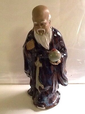 "8 1/2"" Tall Chinese Mudman Statue Figurine Wise Man With Beard Holding A Ball An"
