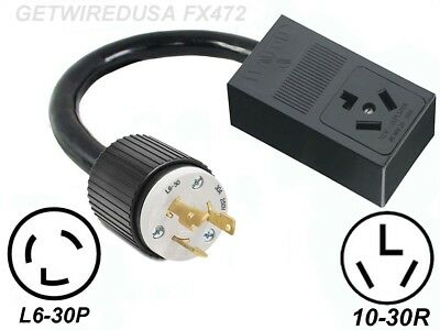 L6-30P 3-PRONG TWIST LOCK PLUG 250 Volt to 10-30R 3-PIN RECEPTACLE DRYER ADAPTER