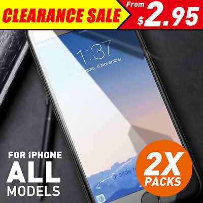 2X Anti Scratch Tempered Glass Screen Protector Guard For iPhone X 8 7 6 S Plus+
