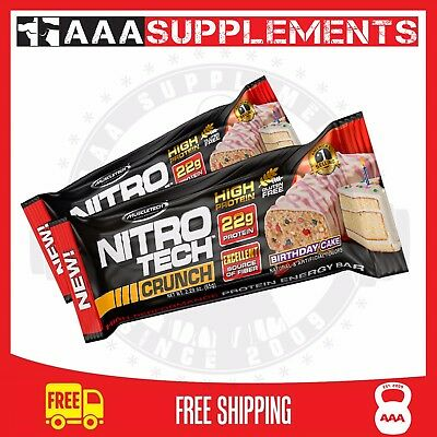 Muscletech Nitro Tech Crunch (Box of 12) Cookie Protein Bar Cookie Gym Healthy