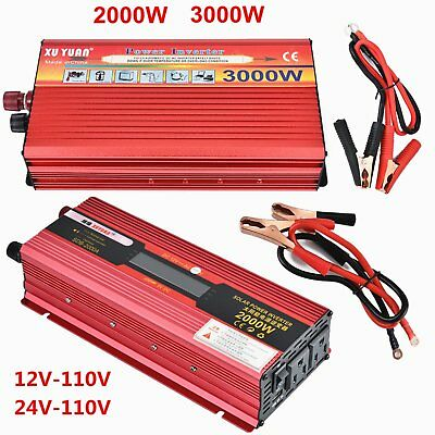 2000W 3000W WATT Car LED Power Inverter Converter DC 12V To AC 110V USB Charger