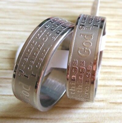 Job lot 50pcs English Serenity Prayer Men's Band Wedding rings Etched prayer HOT