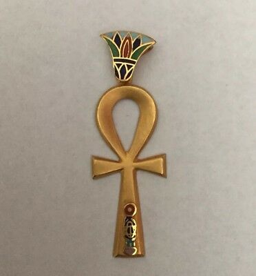 Rare Stamped 18K Gold Egyptian Coloful ANKH Key Of Life(Lotus,Scarab Dec)Pendant