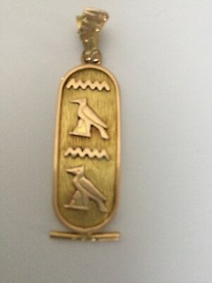 Stamped Unique Rare Egyptian Double Face Cartouche Solid 18K Gold Pendant Unisex