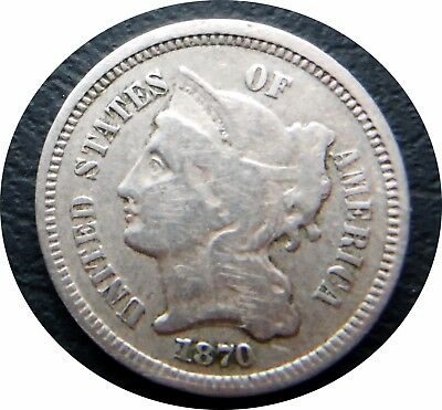 1870 3C Three Cent Nickel $.03 (Trickel)     * Fine Condition  #2