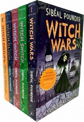 New 5 Book Witch Wars Series Collection Set Sibeal Pounder Witch Snitch, Switch