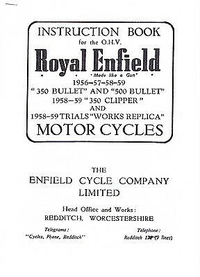 Royal Enfield Instruction Book for OHV 1956-59 Bullet, Clipper, Trials +ephemera