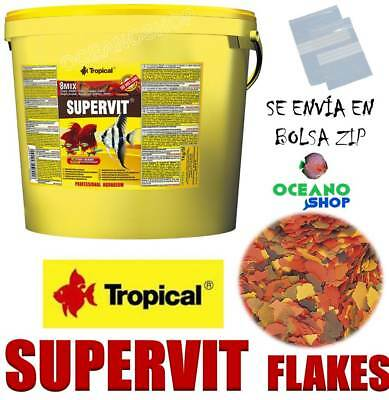 Tropical Supervit 8 Mix Flakes Alimento Escamas Peces Tropicales Krill Comida