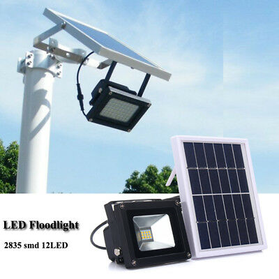 10W Solar Powered 12LED Light Flood Lamp Garden Outdoor Security Waterproof AU