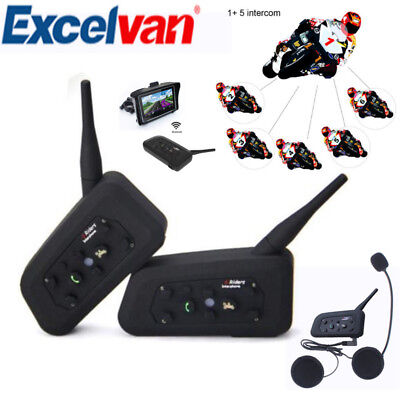 1200M V6 Bluetooth BT Interphone Motorcycle Motorbike Helmet FM Headset 6 Riders