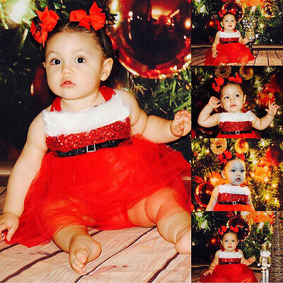 Christmas Newborn Baby Girl Romper Santa Claus Tulle Dress Outfits Costume USA