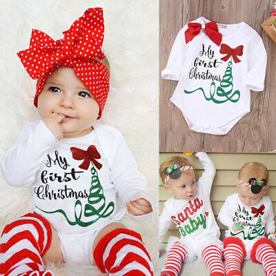 Newborn Baby Girl Romper Jumpsuit My First Christmas Gift Outfits Clothes USA