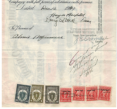 Stock Certificate Tax Stamps Chicago, Burlington and Quincy Railroad  Signature