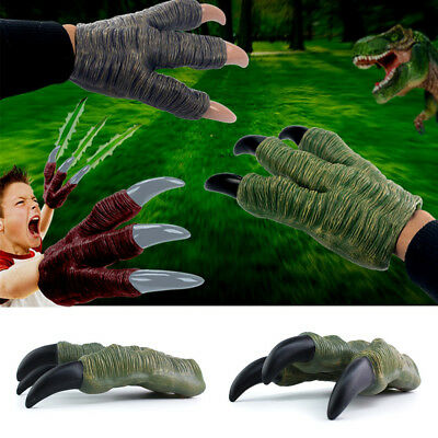 Latex Green Monster Dinosaur Dragon Zombie Devil Costume Hands Claws Gloves