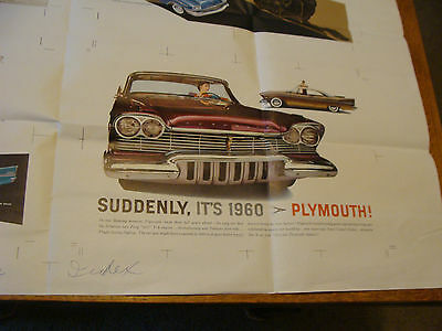 "Vintage Printing Sample Poster: 1957 PLYMOUTH ADVERTISEMENT, 35X45""; #8842A"
