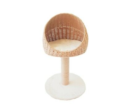 Natural Paper Rope Basket Comfortable Fleece Cat Bed with scratching post