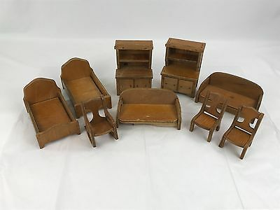Lot of Vintage Wooden Doll House Furniture 9 Pieces Beds Dressers Larger Pieces