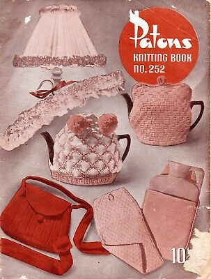 1950s Patons Knitting Book No.252 Bags Rugs Tea Cosy Craft Knitting Patterns