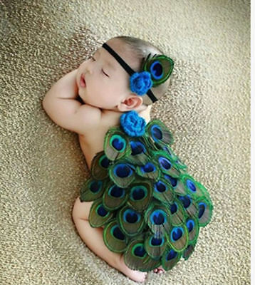 Photo Photography Costume Newborn Baby Girl Boy Peacock Crochet Knit Prop Outfit