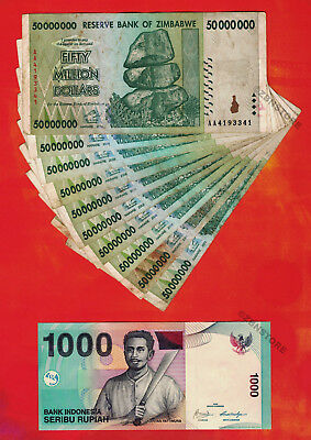 10 x 50 Million Zimbabwe Dollars 2008 Banknotes Lot + 1 x 1000 Indonesia Rupiah