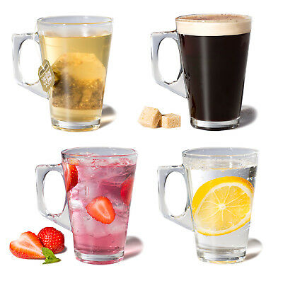 Set of 4 Latte Coffee Tea Cappucino Glass Cups Mugs Clear Drinking Glasses 200ml