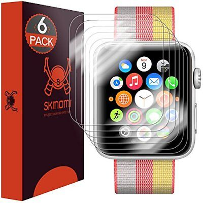 6-Pack Apple Watch Screen Protector 42mm Series 3 /2/1 Skinomi Full Coverage HD