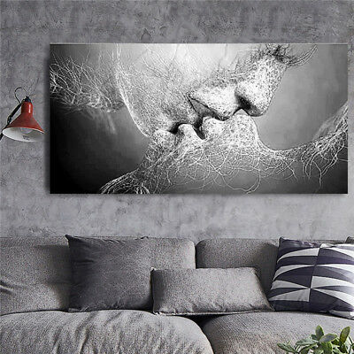 Home Black White Love Kiss Painting Abstract Canvas Wall Print Picture Art Decor