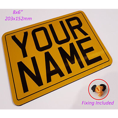 Reflective Outdoor Waterproof Sign - Personalised - Shatterproof yellow 8x6 MTP