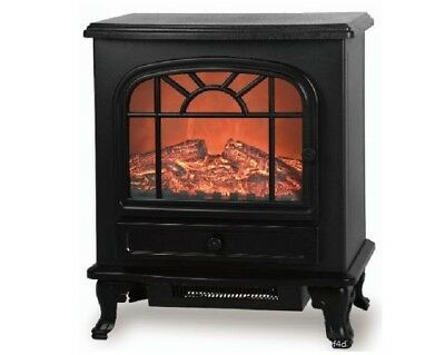 Large 2000W Black Log Burning Flame Effect Electric Fire Heater Fireplace Stove