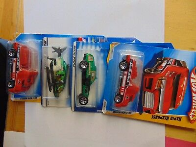 Lot Of 4 - Hot Wheels Ambulance Police Rescue Helicopter 2000 2010