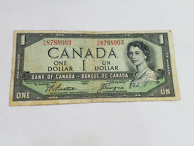 1954 $1 Devils Face One Dollar Bank of Canada Note - 7710