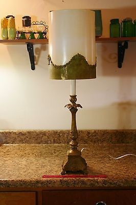 Beautiful L & L Art Deco Ornate Cast Metal Lamp With Original Shade