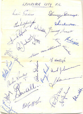 Leicester City F.C. signed autograph sheet 1950s English football team