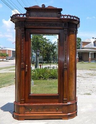 Large Walnut Victorian Wardrobe Armoire ~Beveled Mirror~with Key circa 1870