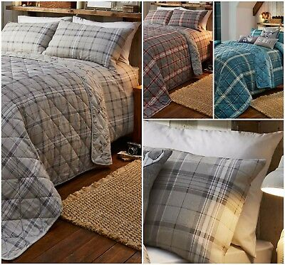 100% Brushed Cotton Flannelette Checked Stags Duvet Quilt Cover Bedding Bed Set