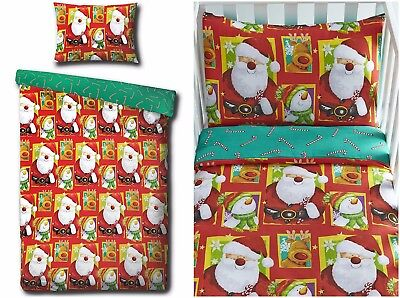 Father Christmas Santa Snowman Reindeer Cot Junior Toddler Bed Duvet Cover Sets