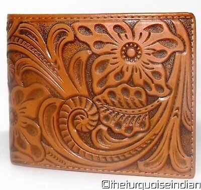 New BIFOLD WESTERN TOOLED Leather Wallet Floral Leaf Design MONTANA WEST w Box