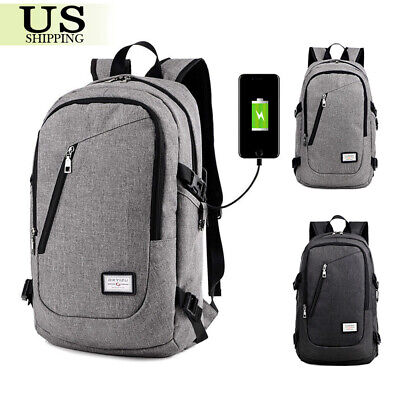 Anti-Theft Backpack USB Charging Port Rucksack Laptop School Bag Travel + Cable