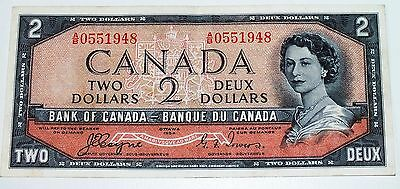 Canada 1954 2 Dollar Note Devil's Face Portrait Coyne Towers
