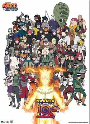 Great Eastern Entertainment Naruto Cast 10th Anniversary Wall Scroll, 33 by