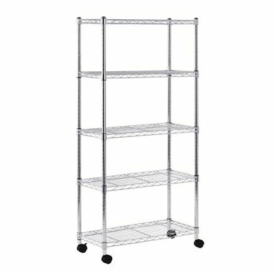 Sandusky MWS301460 Mobile Wire Shelving - 5 Tier with 2 Inch Nylon Casters Si...
