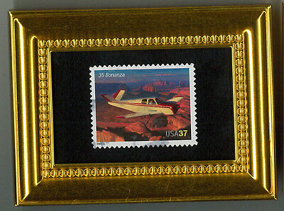 35 Bonanza Plane - A Glass Framed Collectible Postage Masterpiece!