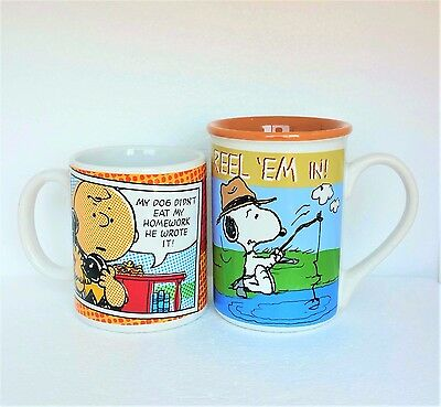 Collectible Peanuts Mug Cup 2 pc Lot Charlie Brown And Woodstock Ceramic Glass