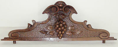 French antique pediment panel carved bunch of grapes