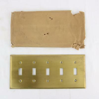 Vintage Solid Brass 5 Gang Toggle Light Switch Plate Cover Quality Heavy NOS