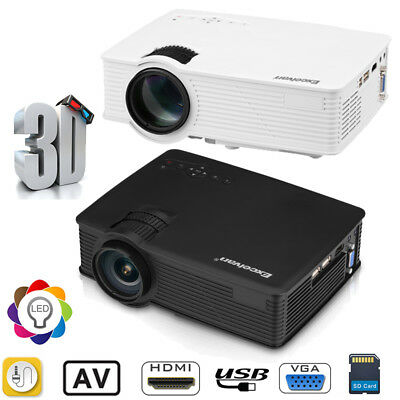 2000LM 1080P 3D LED Projector Multimedia Theater HDMI/USB/SD/AV+Projector Screen
