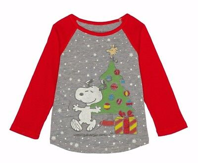 peanuts toddler girls retro snoopy christmas holiday long sleeve t shirt 12m - Snoopy Christmas Shirt