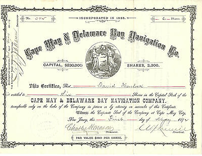 NEW JERSEY 1894, Cape May & Delaware Bay Navigation Company Stock Certificate
