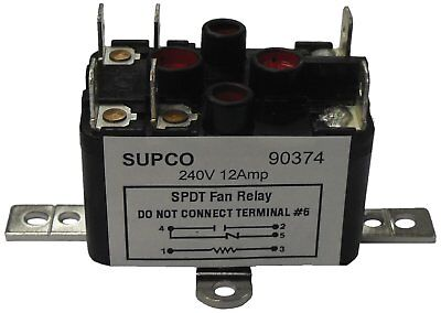 Supco 90380 General Purpose Fan Relay, 13 A Load Current, 24 V Coil Voltage, and