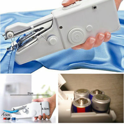 New Portable Cordless Hand Held Single Stitch Fabric Sewing Machine Home Travel